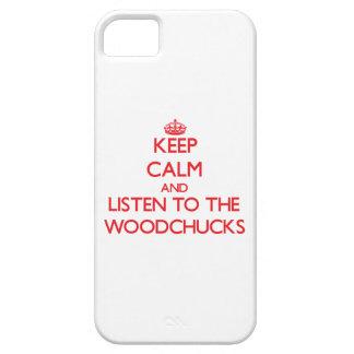 Guarde la calma y escuche las marmotas iPhone 5 protectores