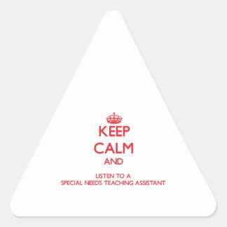 Guarde la calma y escuche las necesidades de un Sp Pegatina Triangulo Personalizadas