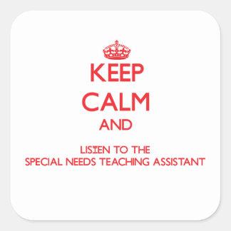 Guarde la calma y escuche las necesidades especial pegatinas cuadradases personalizadas