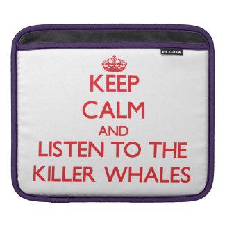 Guarde la calma y escuche las orcas funda para iPads