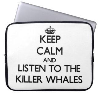 Guarde la calma y escuche las orcas funda portátil