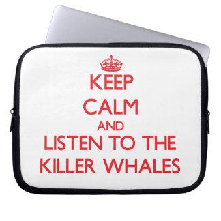 Guarde la calma y escuche las orcas fundas ordendadores