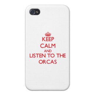 Guarde la calma y escuche las orcas iPhone 4 protector