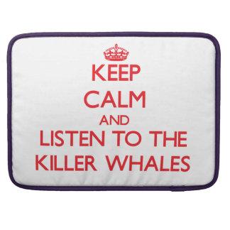 Guarde la calma y escuche las orcas fundas para macbook pro