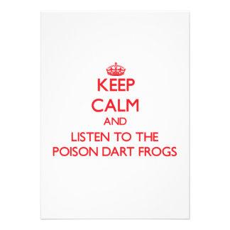 Guarde la calma y escuche las ranas del dardo del anuncios