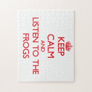 Guarde la calma y escuche las ranas puzzle
