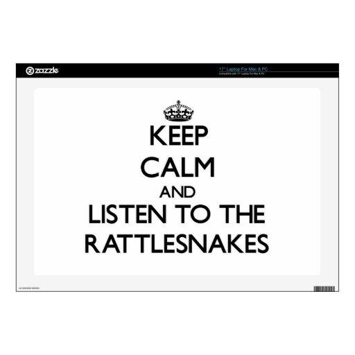 Guarde la calma y escuche las serpientes de cascab portátil 43,2cm skins