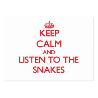 Guarde la calma y escuche las serpientes plantillas de tarjeta de negocio