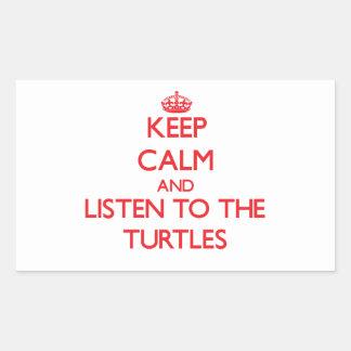 Guarde la calma y escuche las tortugas pegatina