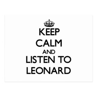 Guarde la calma y escuche Leonard Postales