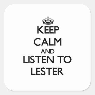 Guarde la calma y escuche Lester Pegatina Cuadrada