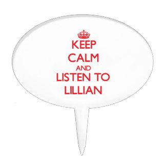 Guarde la calma y escuche Lillian Figura Para Tarta