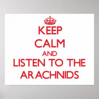 Guarde la calma y escuche los arácnidos posters