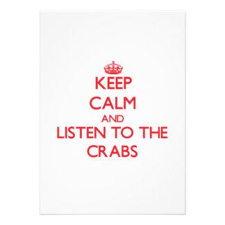 Guarde la calma y escuche los cangrejos invitacion personal