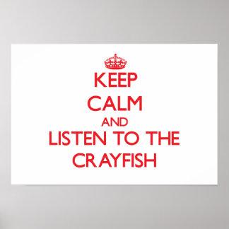 Guarde la calma y escuche los cangrejos posters