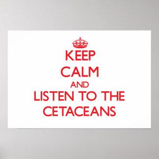 Guarde la calma y escuche los cetáceos posters