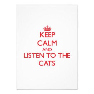 Guarde la calma y escuche los gatos invitacion personal