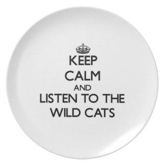 Guarde la calma y escuche los gatos salvajes plato de comida