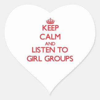 Guarde la calma y escuche los GRUPOS del CHICA Pegatina En Forma De Corazón
