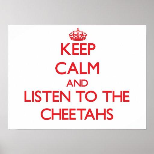 Guarde la calma y escuche los guepardos impresiones