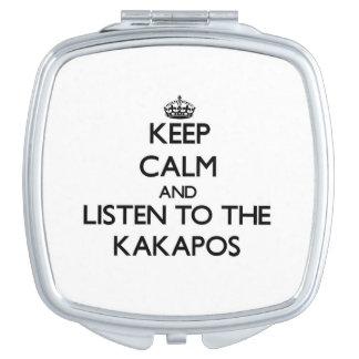 Guarde la calma y escuche los Kakapos Espejo Compacto