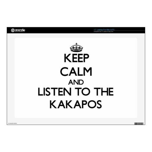 Guarde la calma y escuche los Kakapos Portátil Skins