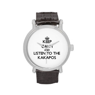 Guarde la calma y escuche los Kakapos Relojes De Pulsera