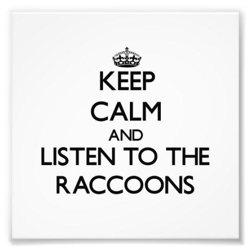Guarde la calma y escuche los mapaches arte con fotos