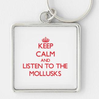 Guarde la calma y escuche los moluscos llaveros personalizados