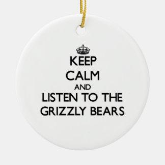 Guarde la calma y escuche los osos grizzly ornamentos para reyes magos