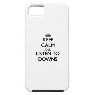 Guarde la calma y escuche los plumones iPhone 5 Case-Mate protector
