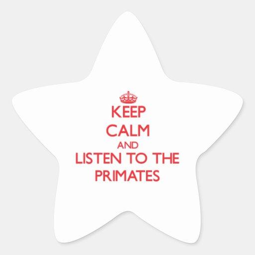 Guarde la calma y escuche los primates colcomanias forma de estrellas