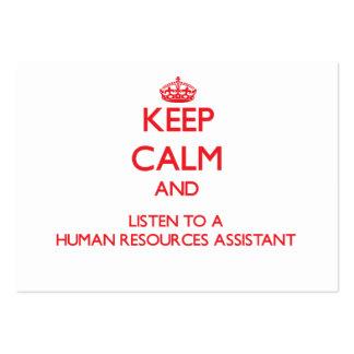 Guarde la calma y escuche los recursos humanos Ass Tarjeta De Visita