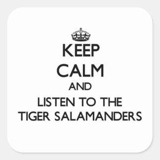 Guarde la calma y escuche los Salamanders de tigre Pegatina Cuadrada