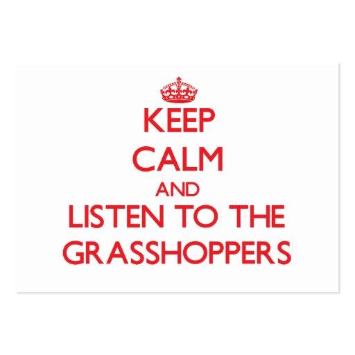 Guarde la calma y escuche los saltamontes plantilla de tarjeta de negocio