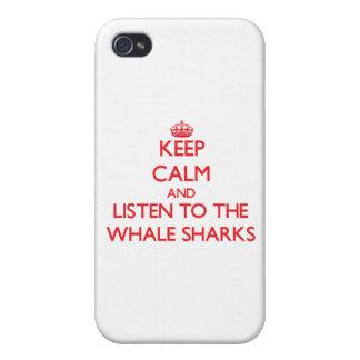 Guarde la calma y escuche los tiburones de ballena iPhone 4 cárcasas