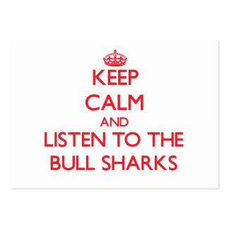 Guarde la calma y escuche los tiburones de Bull Plantillas De Tarjetas De Visita