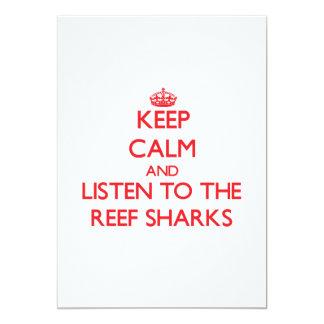 """Guarde la calma y escuche los tiburones del filón invitación 5"""" x 7"""""""