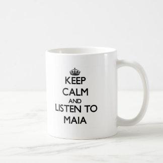 Guarde la calma y escuche Maia Tazas De Café