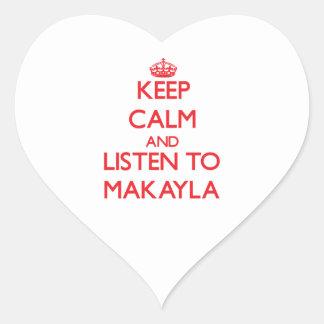 Guarde la calma y escuche Makayla Calcomanía Corazón Personalizadas
