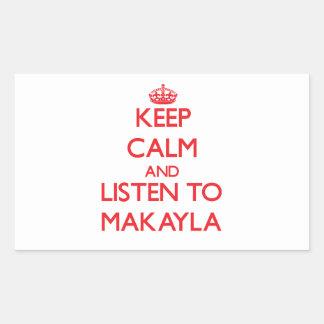 Guarde la calma y escuche Makayla Rectangular Altavoces