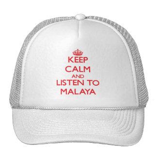 Guarde la calma y escuche Malaya Gorro De Camionero