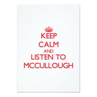 Guarde la calma y escuche Mccullough Invitación 12,7 X 17,8 Cm