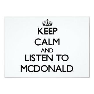 Guarde la calma y escuche Mcdonald Invitación 12,7 X 17,8 Cm