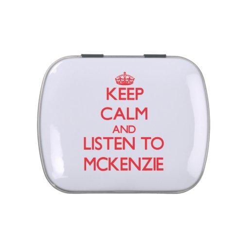 Guarde la calma y escuche Mckenzie Frascos De Dulces