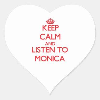 Guarde la calma y escuche Mónica Pegatina En Forma De Corazón