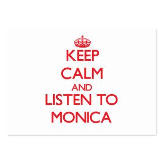 Guarde la calma y escuche Mónica Plantillas De Tarjetas Personales