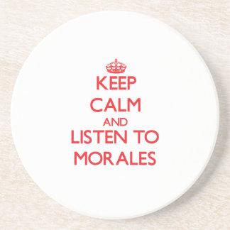 Guarde la calma y escuche Morales Posavasos Para Bebidas