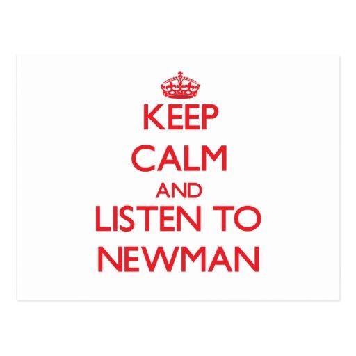Guarde la calma y escuche Newman Postales