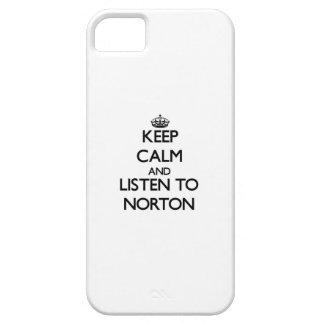 Guarde la calma y escuche Norton iPhone 5 Coberturas